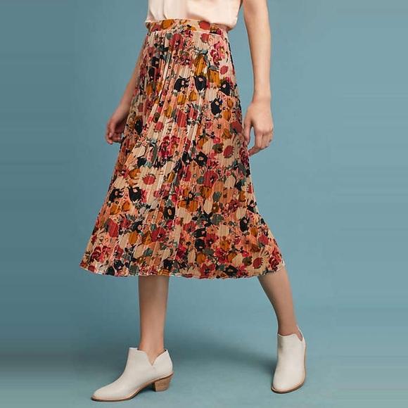 68132dab15 Anthropologie Skirts | Floral Velvet Skirt By Maeve | Poshmark